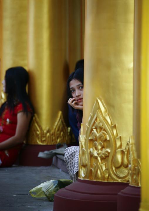 Woman In Shwedagon Pagoda, Rangoon, Myanmar