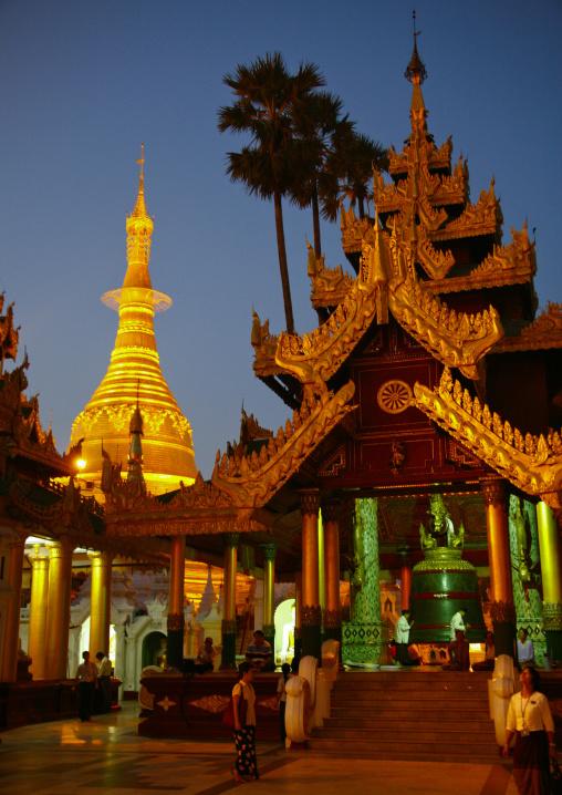 Shwedagon Pagoda At Night, Rangoon, Myanmar