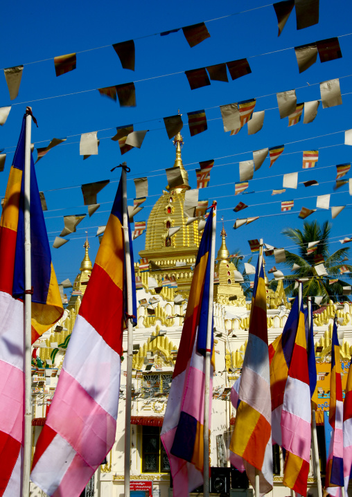 Flags in a temple, Rangoon, Myanmar