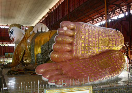 The Giant Reclining Buddha In Chaukhtatgyi Paya Rangoon, Myanmar