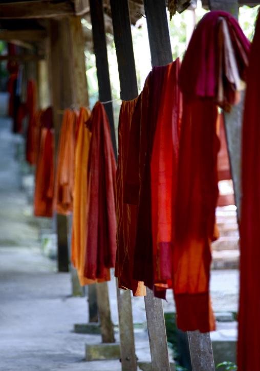 Kasaya Robes Drying On Clothesline, Myanmar In Rangoon, Myanmar