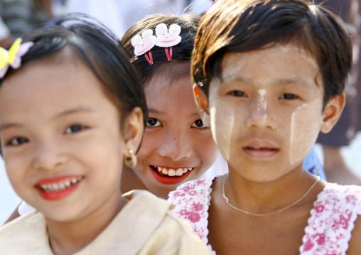 Girls With Thanaka On Cheeks, Rangoon, Myanmar
