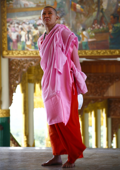 Buddhist Nun In Pink Kasaya Robe, In Inle Lake, Myanmar