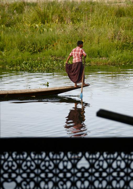 Man Rowing A Boat, Inle Lake, Myanmar