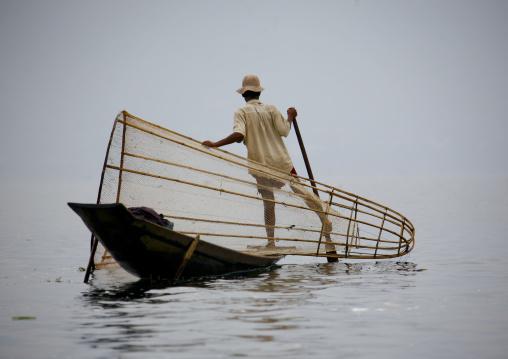 Man Rowing A Fishing Boat, Inle Lake, Myanmar
