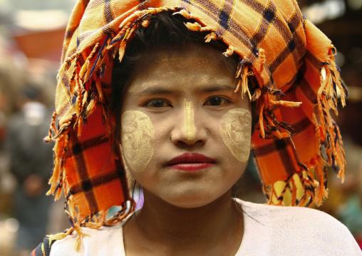 Girl With Thanaka On Cheeks, Taunggyi, Myanmar