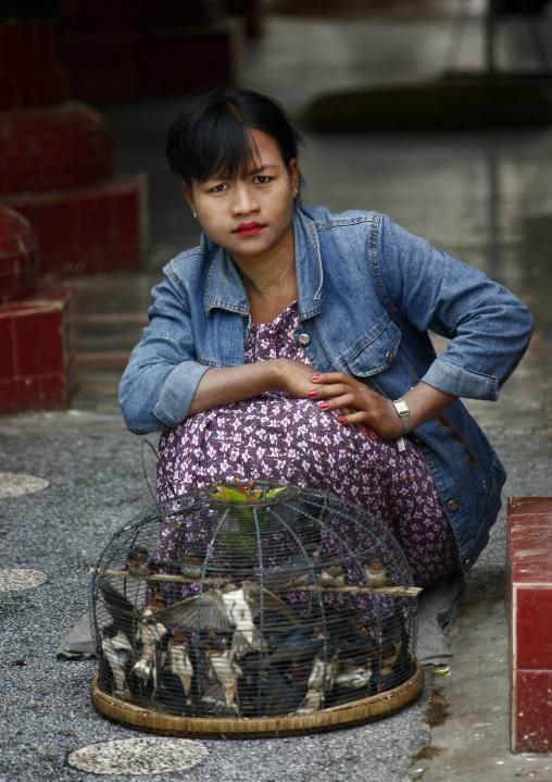 Woman With Thanaka Selling Birds, Mandalay, Myanmar