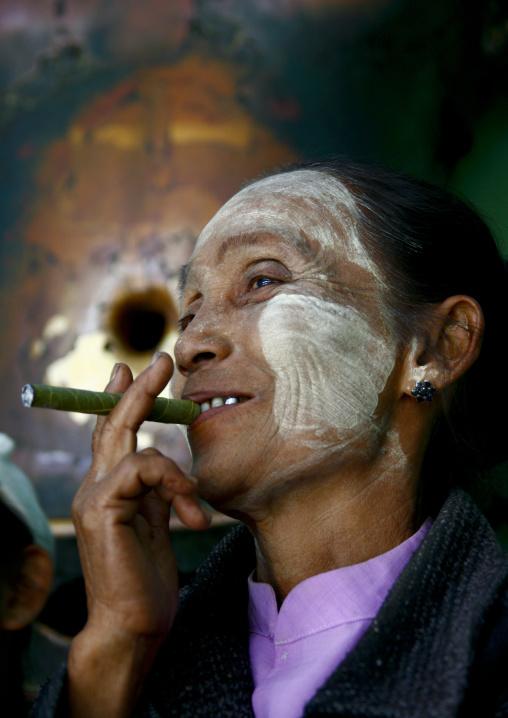 Woman With Thanaka And Cigar, Mandalay, Myanmar