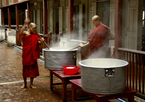 Monks Making Food At Mahagandayon Monastery In Amarapura, Myanmar