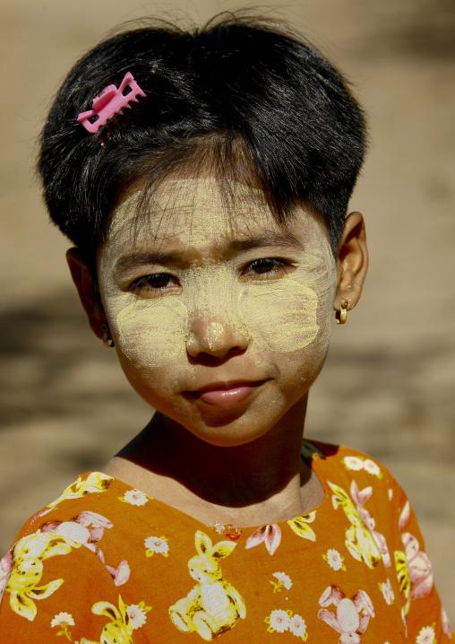Girl With Thanaka On Face, Bagan, Myanmar