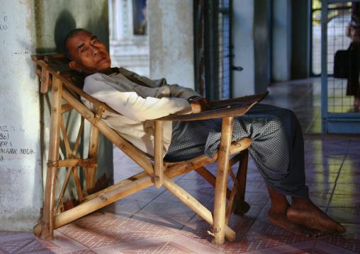 Man Sleeping On A Long Chair, Bagan, Myanmar