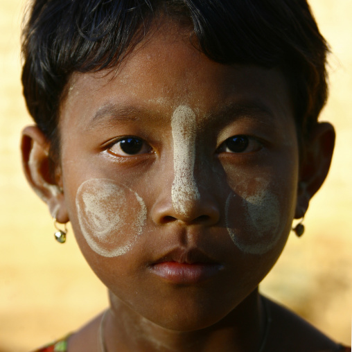 Girl With Thanaka On Cheeks, Bagan, Myanmar