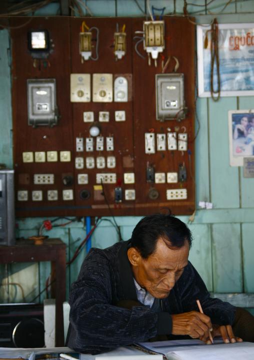 Man Working In An Office, Bagan, Myanmar