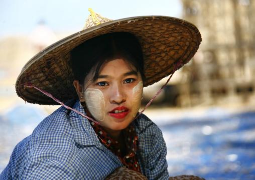 Woman With Thanaka On Cheeks, Ngapali, Myanmar