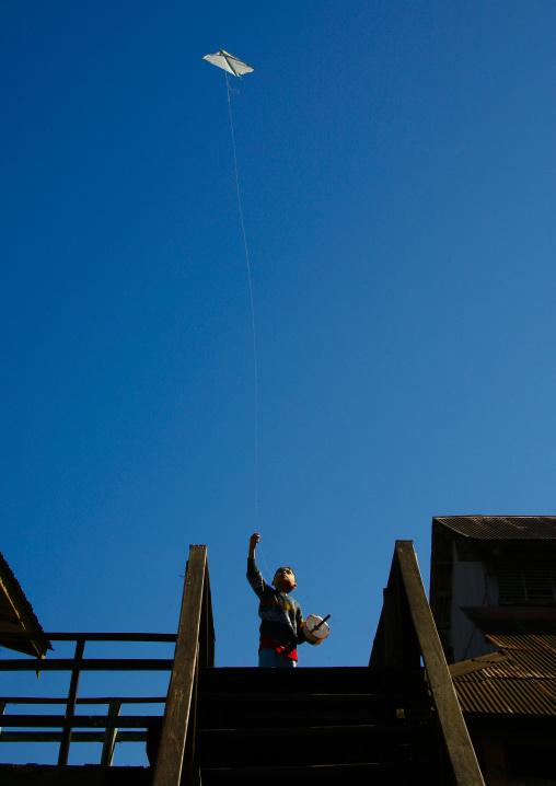 Young Boy Flying A Kite, Ngapali, Myanmar