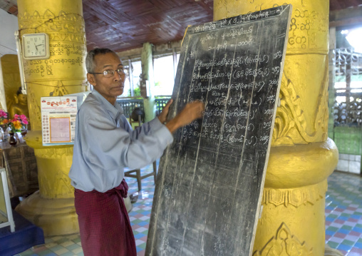 Man writing on a billboard inside a temple, Mrauk u, Myanmar