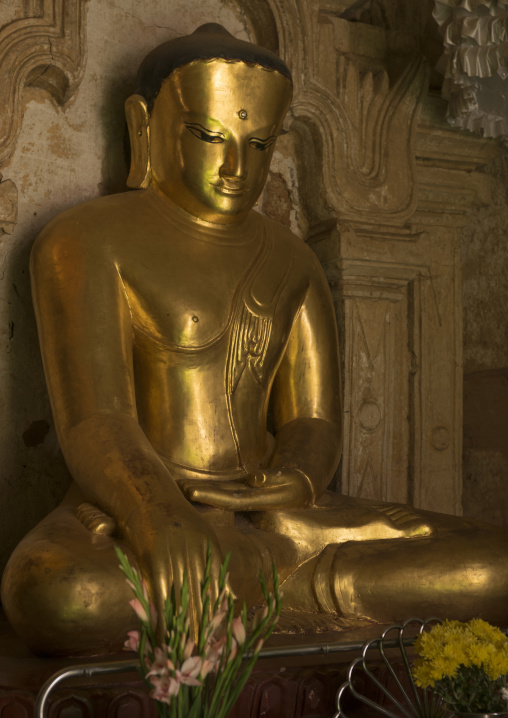 Golden Buddha Inside A Temple, Bagan, Myanmar