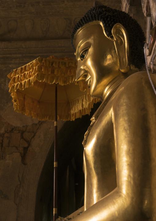 Golden Buddha Inside A Temple, Bagan, Myanmar