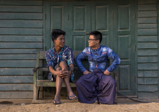 Friends Chatting On A Bench, Mindat, Myanmar