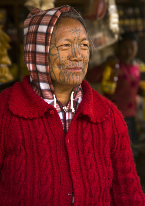 Tribal chin woman with tattoo on the face, Mindat, Myanmar