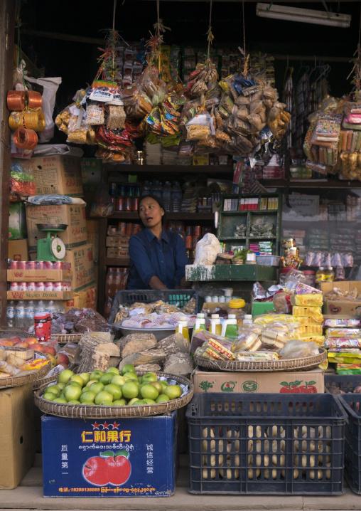 Woman In A Tiny Street Grocery,  Mindat, Myanmar