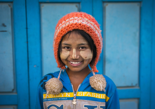 Young Chin Girl With Thanaka On The Face And A Woolly Hat  , Mindat, Myanmar