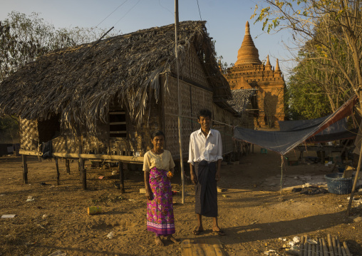 People Living In Front Of An Old Temple, Bagan, Myanmar