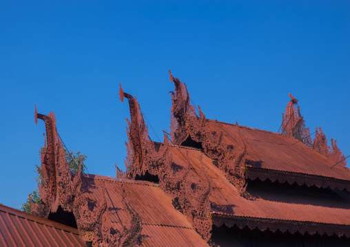 Shwe inn thein paya temple roofs, Inle lake, Myanmar