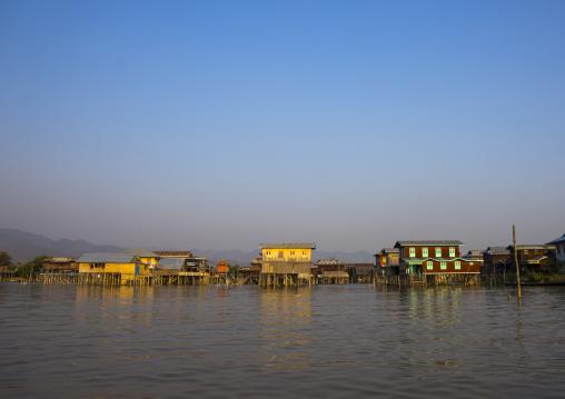 Stilt houses in local village, Inle lake, Myanmar