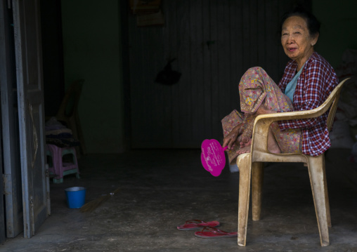 Elderly woman smiling, Thandwe, Myanmar