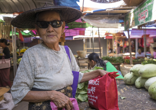 Old woman in a market, Thandwe, Myanmar