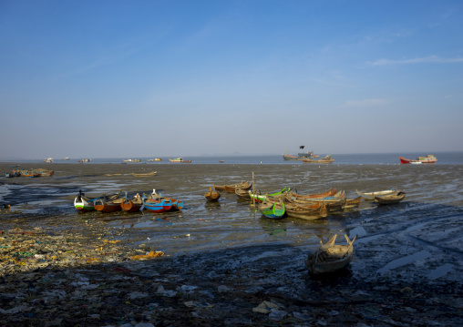 The harbour at the mouth of kaladan river, Sittwe, Myanmar