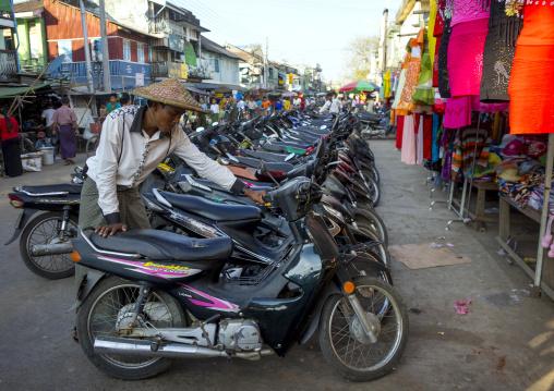 Man Parking His Moto, Sittwe, Myanmar