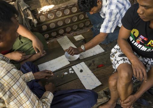 Men Playing A Board Game, Sittwe, Myanmar
