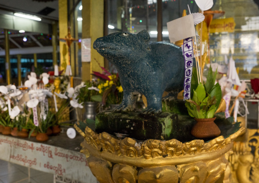 Rat statue in a temple, Sittwe, Myanmar