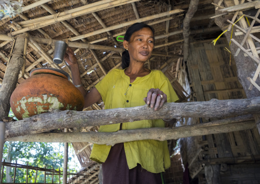 Woman Drinking Water, Mrauk U, Myanmar
