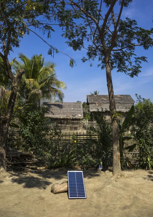 Solar Panels In A Village, Mrauk U, Myanmar