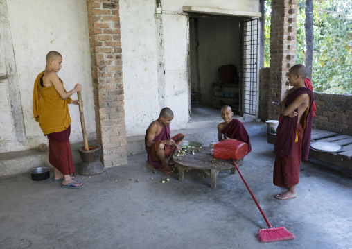 Young Novices Preparing The Meal, Mrauk U, Myanmar