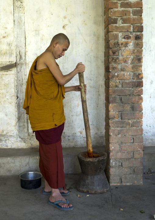 Young Novice Preparing The Meal, Mrauk U, Myanmar