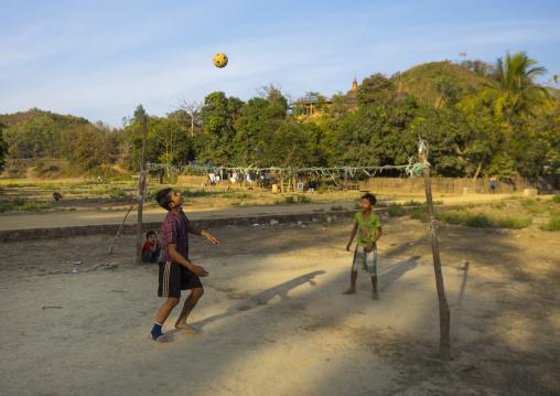 Children Playing Chinlone On Street, Mrauk U, Myanmar