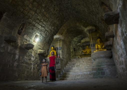 Children Inside Htuk Kant Thein Temple, Mrauk U, Myanmar
