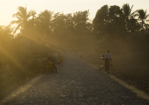 Dusty road in the sunset, Mrauk u, Myanmar