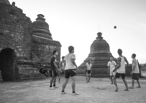 Men Playing Chinlone In Front Of Stupas, Myanmar
