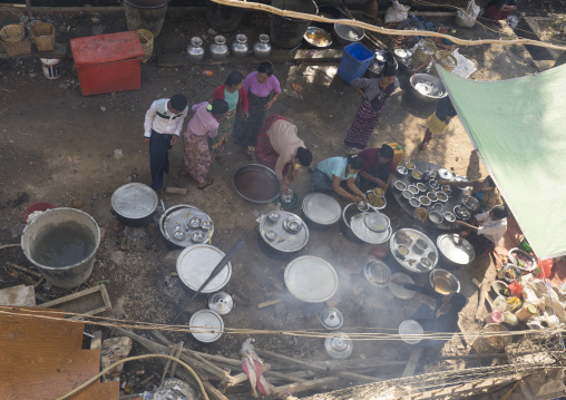 Kitchen for a wedding, Mrauk u, Myanmar