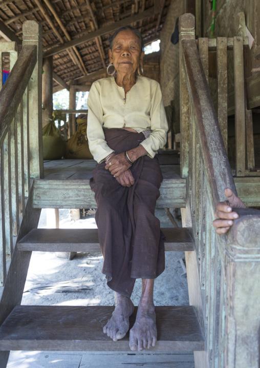 Old woman with huge ear rings, Mrauk u, Myanmar