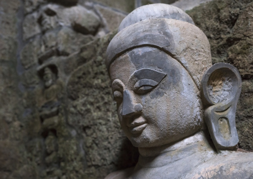 Buddha head in kothaung temple, Mrauk u, Myanmar