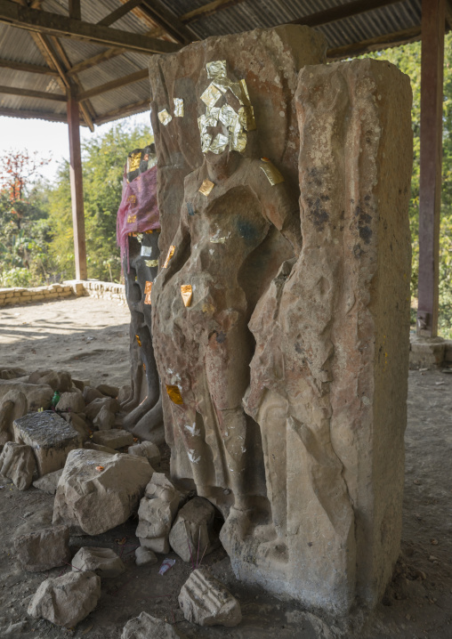 Decapitated Statue With Gold Leaves, Mrauk U, Myanmar