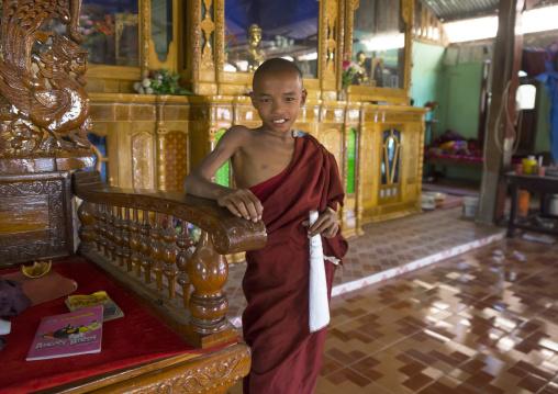 Young Novice Inside A Temple, Mrauk U, Myanmar