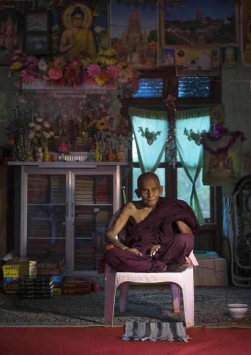 A Burmese Ermite Buddhist Monk, Mrauk U, Myanmar