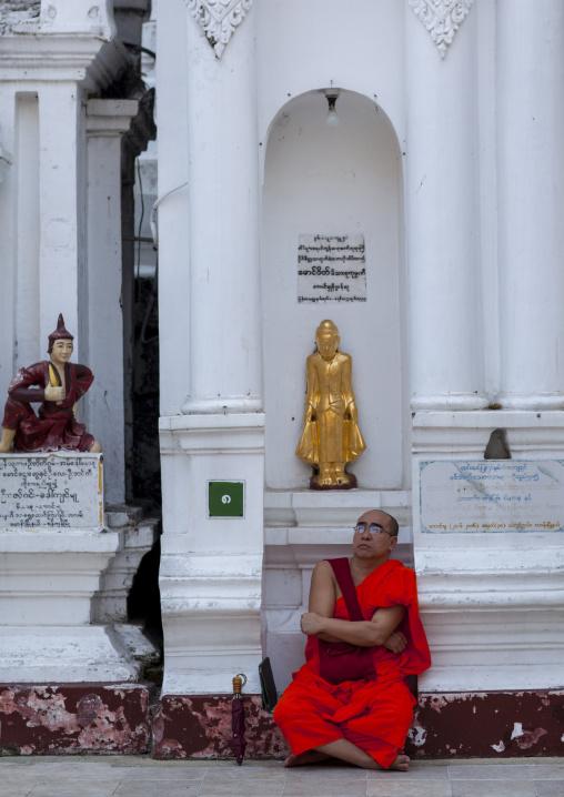 Monk In Shwedagon Pagoda, Yangon, Myanmar
